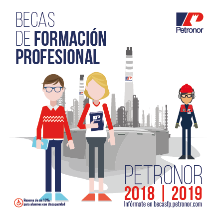 Cartel de la convocatoria de becas de FP de Petronor 2018-2019.